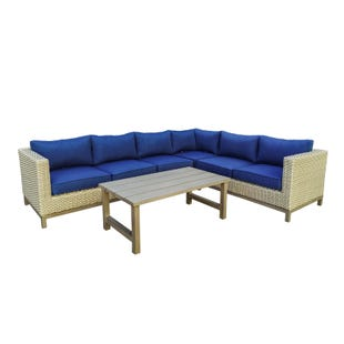 Maui Cobalt Blue Wicker Outdoor Sectional and Cocktail Table