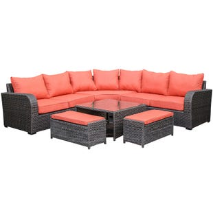 Westbury Sectional With Aluminum Frame and Red Cushions