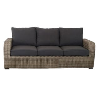 Westbury Gray Twill 3 Seat All Weather Wicker Patio Sofa