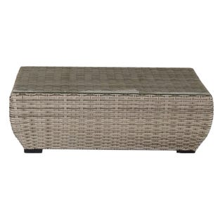 Westbury All Weather Wicker Cocktail Table With Glass Top
