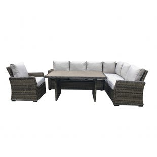 Caspian 3 Piece Patio Dining Sectional Set