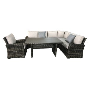Caspian Sectional With Chair and Dining Table
