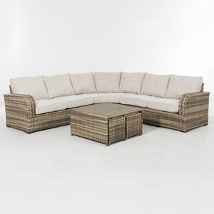 Danbury Beige 6 Piece All Weather Wicker Curved Sectional