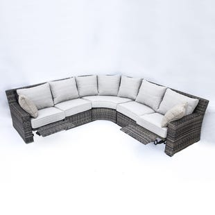 Cortona Beige 3 Piece Reclining All Weather Wicker Sectional