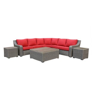 Shelby Red 6 Piece Patio Chat Set