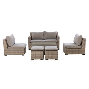Dwell Wicker Nesting Loveseat Outdoor 6 Piece Set