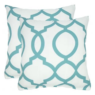 Teal Quatrefoil Indoor/Outdoor Pillow