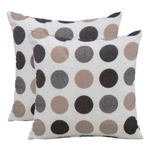 Gray/Beige Polka Dot Indoor/Outdoor Pillow