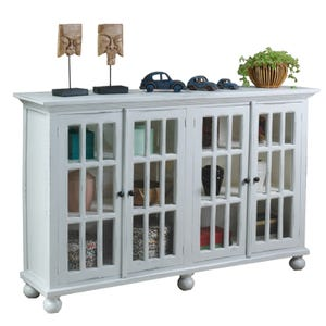 """Cottage Gray and White Wash 72"""" Console"""
