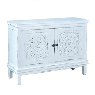 Whitewash Carved Hall Cabinet
