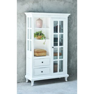 White Wash Display Armoire