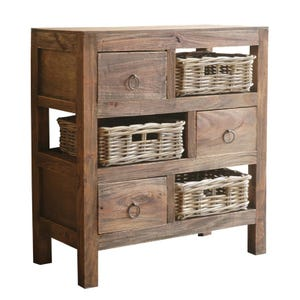 Iva 3 Drawer Wood Cabinet with 3 Baskets