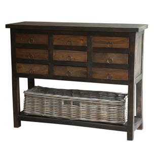 Lauren Black Wood 9 Drawer Cabinet