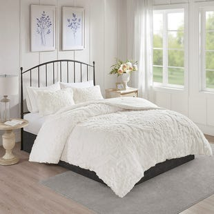 Victoria White Cotton Chenille 3 Piece Queen Comforter Set