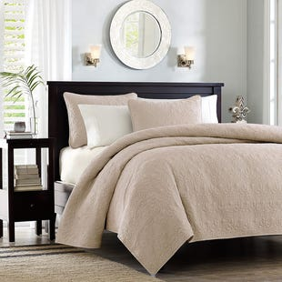 Classic Khaki Reversible 3 Piece King Coverlet Set