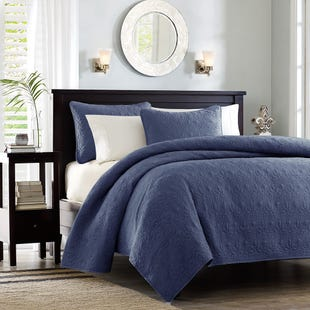 Classic Cotton Navy 3 Piece Queen Reversible Coverlet Set