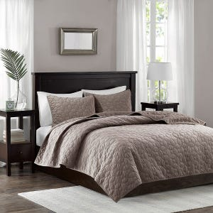 Velvet Taupe Reversible 3 Piece King Coverlet Set