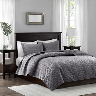 Velvet Gray 3 Piece Reversible Queen Coverlet Set