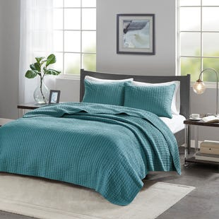Channel Cotton Teal 3 Piece Queen Reversible Coverlet Set