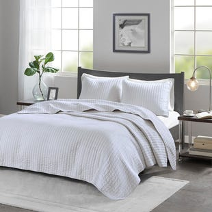 Channel White 3 Piece Queen Reversible Coverlet Set