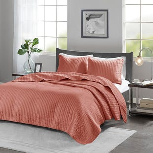 Channel Cotton Coral 3 Piece King Reversible Coverlet Set