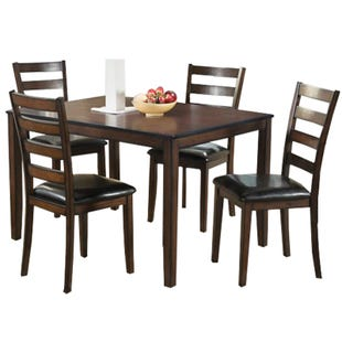 Malaga 5 Piece Contemporary Faux Leather Dining Set