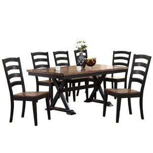 Cambridge 7 Piece Black Wood Dining Set