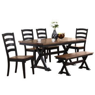 Cambridge 6 Piece Black Dining Set with Bench