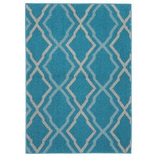 Ludlow Teal Silver 5x7 Indoor/Outdoor Rug