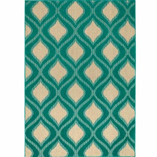 Valencia Teal/Tan/Ivory Indoor/Outdoor 5x7 Rug