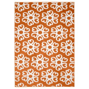 Hearts Medallion Orange and White 5x7 Indoor/Outdoor Rug