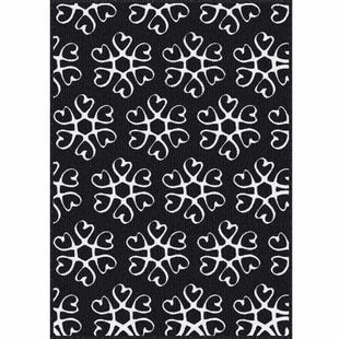 Hearts Medallion Navy/White Indoor/Outdoor 5x7 Rug