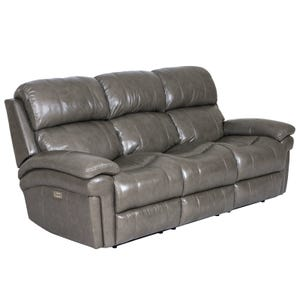 Livorno Grey Top Grain Leather Power Reclining Sofa and Head