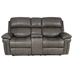 Livorno Dual Power Leather Console Loveseat Gray