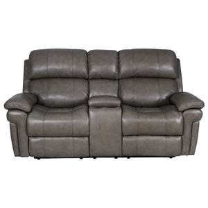 Livorno Grey Top Grain Leather Power Reclining Loveseat