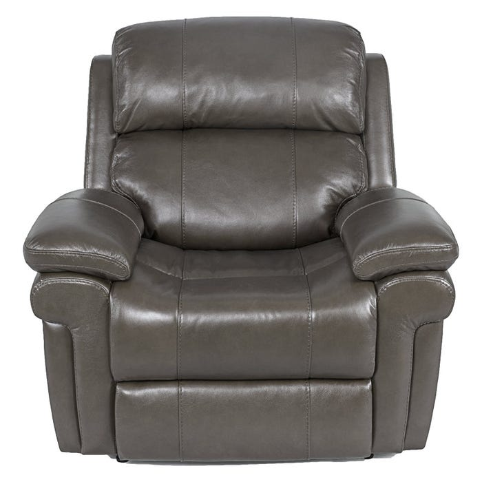 Awesome Livorno Grey Top Grain Leather Power Recliner And Headrest Pabps2019 Chair Design Images Pabps2019Com