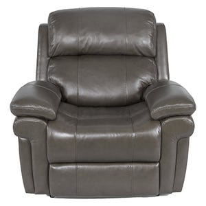 Livorno Grey Top Grain Leather Power Recliner and Headrest