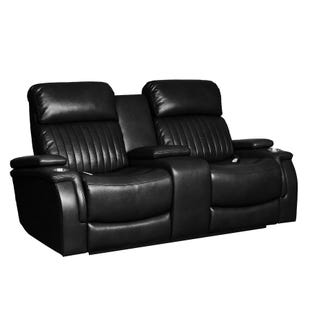 Deco Black Triple Power Loveseat with Heat and Massage