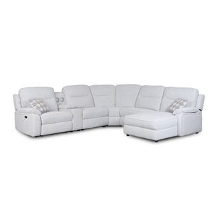 Margot Cream Dual Power Reclining Sectional with Bluetooth