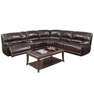 Bogdan Brown Top Grain Leather Power Sectional
