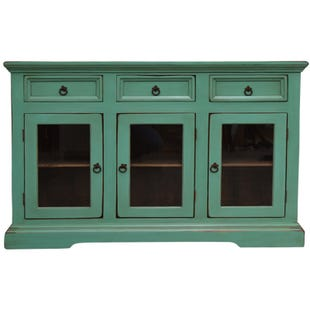 Darcy Blue Accent Cabinet w/ 3 Doors and 2 Drawers