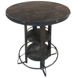 Rodeo Distressed Dark Oak Pub Table With Footrail
