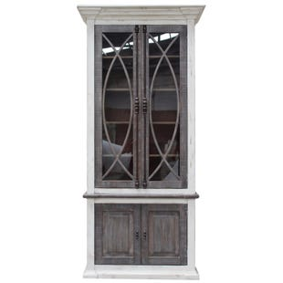Nero Distressed White and Gray Wash Display Cabinet