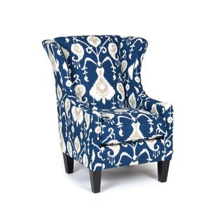 Java Navy Ikat Wing Chair