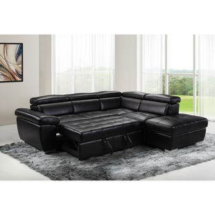 Amando Black Faux Leather Sleeper Sectional