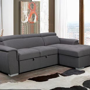 Capri Gray Right Facing Chaise Sleeper Sectional