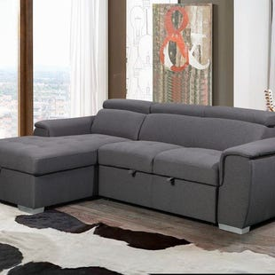 Capri Gray Left Facing Chaise Sleeper Sectional
