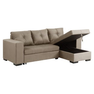 Gianni Taupe Linen Reversible Sleeper Sectional