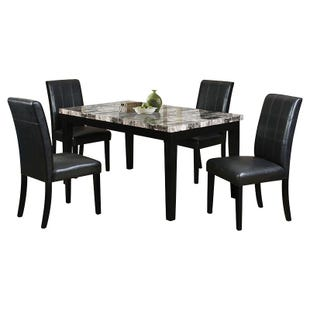 Wilcox 7 Piece Black Faux Leather Dining Set