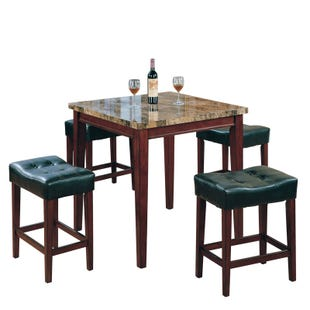 Margo 5 Piece Counter Height Dining Set in Cherry Finish